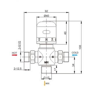 """Image 5 - 送料無料 G1/2 """"/DN15 サーモスタットバルブサーモスタット混合弁デッキ太陽真鍮サーモスタットバルブパイプラインバルブ"""