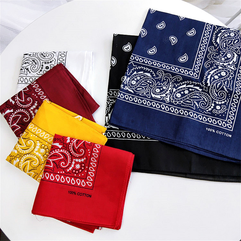55 55cm Printing Women Square Scarves Cotton Satin Hip Hop Bandana Headband Wrap Neck Wrist Band Headtie Scarf For Female in Women 39 s Scarves from Apparel Accessories