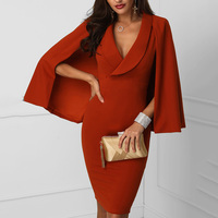 OL style cape bodycon dress women slim fit blazer dress Elegant office work party dress Plunge cape design vestidos verano 2018