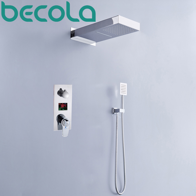 becola Thermostatic Shower set LED temperature digital display shower system Rainfall with waterfall shower head faucet B-HW1003 china sanitary ware chrome wall mount thermostatic water tap water saver thermostatic shower faucet