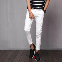 YINOS High Stretch Casual Men Pants Solid Color Ankle Length Skinny Slim Spring Summer Black White