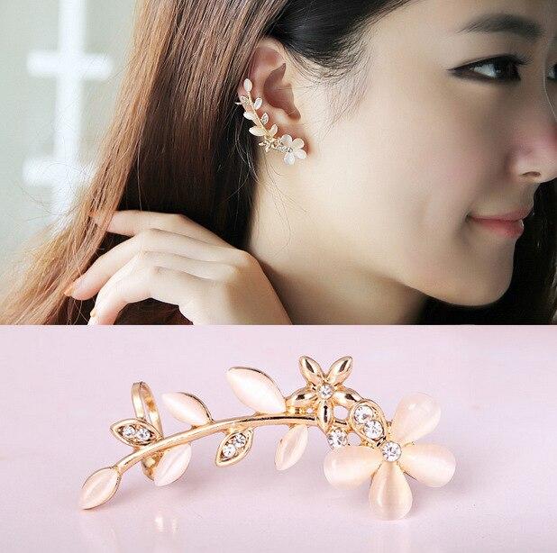 Suumer Fashion Left Ear Gold Color Cuff Flower Opal Earrings For Women Clip On No Pierced Ears Crystal Jewelry In From