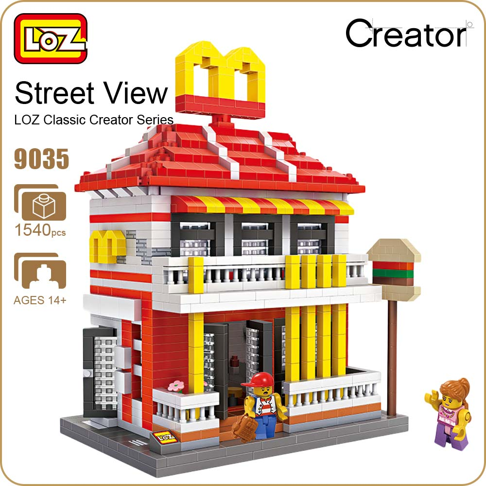 LOZ Diamond Blocks Architecture Mini Street View Restaurants Building Blocks Store Shop Model DIY Nano Mirco Brick Toys Fun 9035 loz street view architecture building brick 303pcs