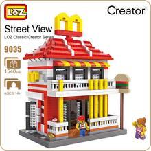 LOZ Diamond Blocks Architecture Mini Street View Restaurants Building Blocks Store Shop Model DIY Nano Mirco Brick Toys Fun 9035
