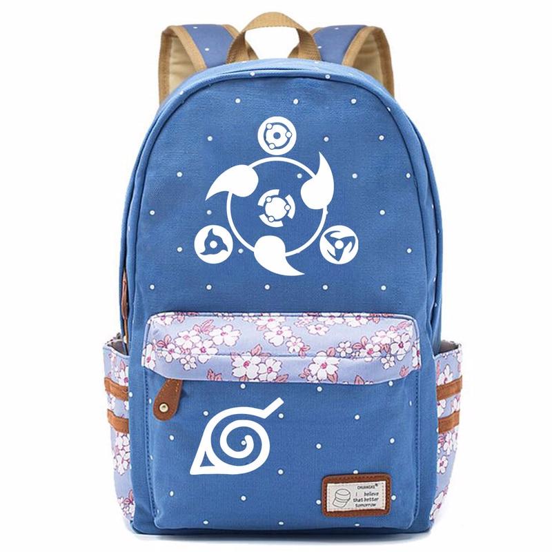 Uzumaki Naruto Sasuke Uchiha Sharingan flor Dot niño niña escuela bolso mujeres mochila adolescentes mochilas lona mujer mochila 9