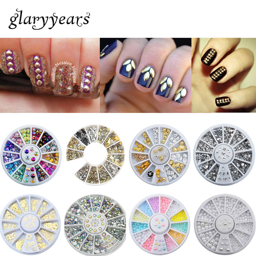 18 Designs 1 Set 3D Nail Art Accessories Metal Crystal Rhinestone Colourful DIY Nail Art Manicures Tips Wheel Decoration Wedding ...