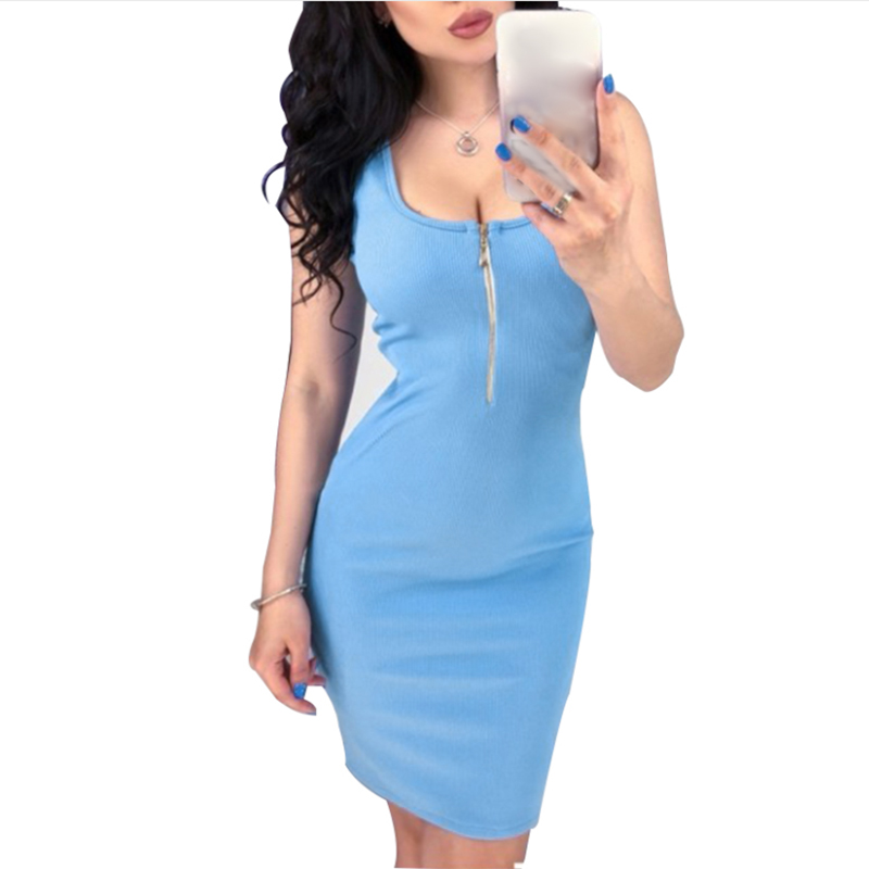 Women Summer Zippered Bodycon Dresses Casual Solid Sleeveless Slim Fit Zipper Front Party Dress LY007F