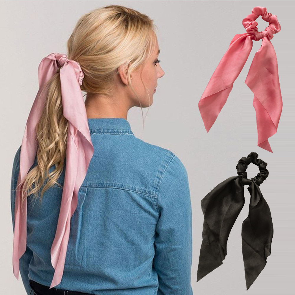 New Fashion Streamers Elastic Scrunchie Hair Bands Women Solid Color Hair Rings Bow Hair Accessories Daily   Headwear   Hair Ribbon