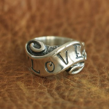 LINSION 925 Sterling Silver Love & Hate Ribbon Ring Biker Punk Ring TA105 US Size 7~15