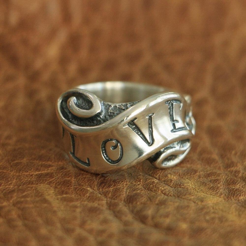 LINSION 925 Sterling Silver miłość i nienawiść wstążka pierścień Biker Punk pierścień TA105 US rozmiar 7 ~ 15 w Pierścionki od Biżuteria i akcesoria na  Grupa 1