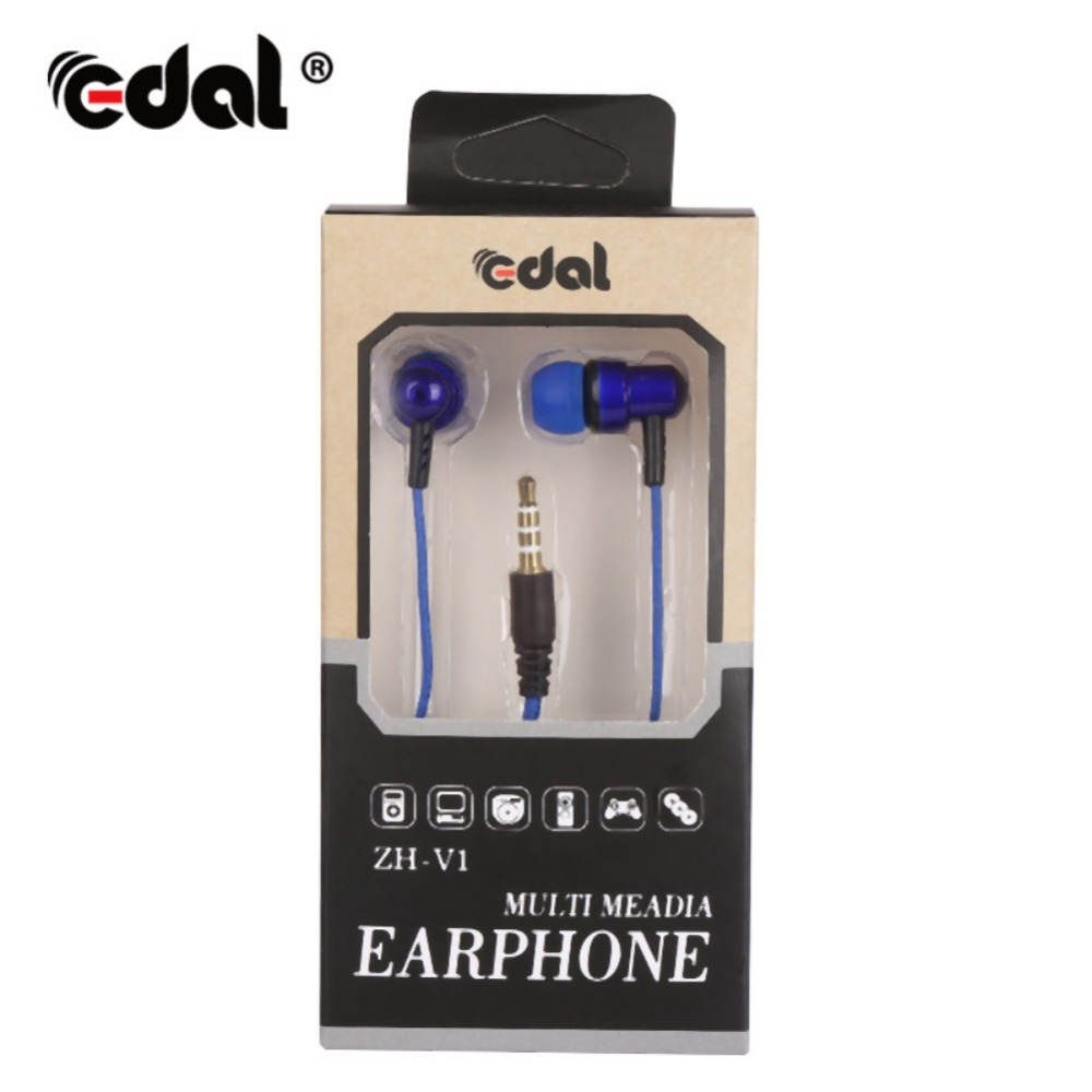 EDAL 3.5mm Woven Fiber Cloth Line In-ear Headphone Super Clear Bass Metal Noise isolating Earbud Earphone For iphone Xiaomi
