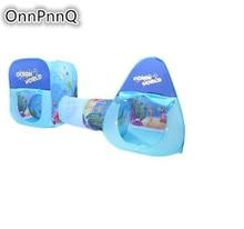 Crianças Portátil Dobrável 3 em 1 Play Tent Playhouse com Túnel bolas de Bilhar bola pit Desporto Ao Ar Livre crianças casa Tendas Bebê Brinquedo