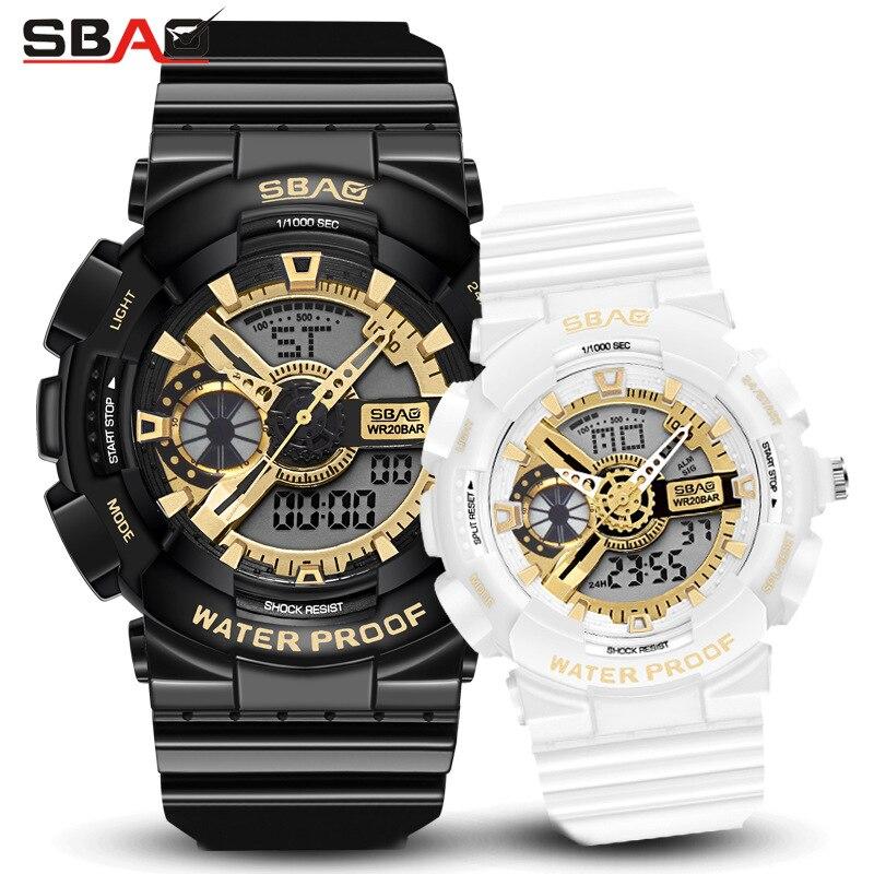 Amantes da moda Relógios de Luxo Digital de Relógios à prova d' água Dupla Afixação Relógio do Esporte das Mulheres dos homens Casal Relógio para Homens e mulheres