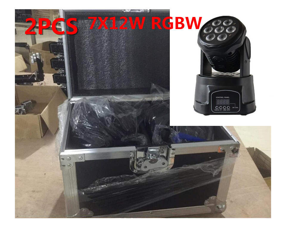 2PCS led wash mini moving head light 7x12w with flightcase+1M dmx cable rgbw 4in1 leds mass effect DMX 9/14 channels dj lights