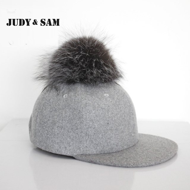 Vintage Grey Snapback Polo Cap with Round Fluffy Silver Fox Fur Pom Pom Baseball Hats for Men Adjustable Gorra Fitted Hats