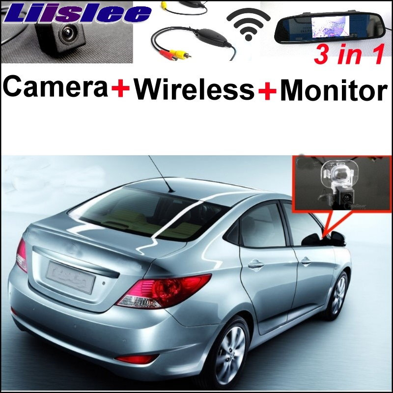 Liislee Special Rear View Camera + Wireless Receiver + Mirror Monitor 3 in1 Easy  Parking System For Hyundai i25 Verna 2012~2017 3 in1 special rear view camera wireless receiver mirror monitor easy diy backup parking system for jeep liberty 2002 2007