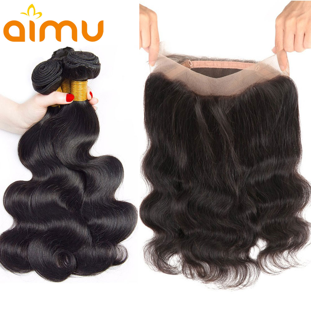 Remy Body Wave Pre Plucked 360 Lace Frontal With Bundles Natural Color Brazilian Hair Weave Bundles