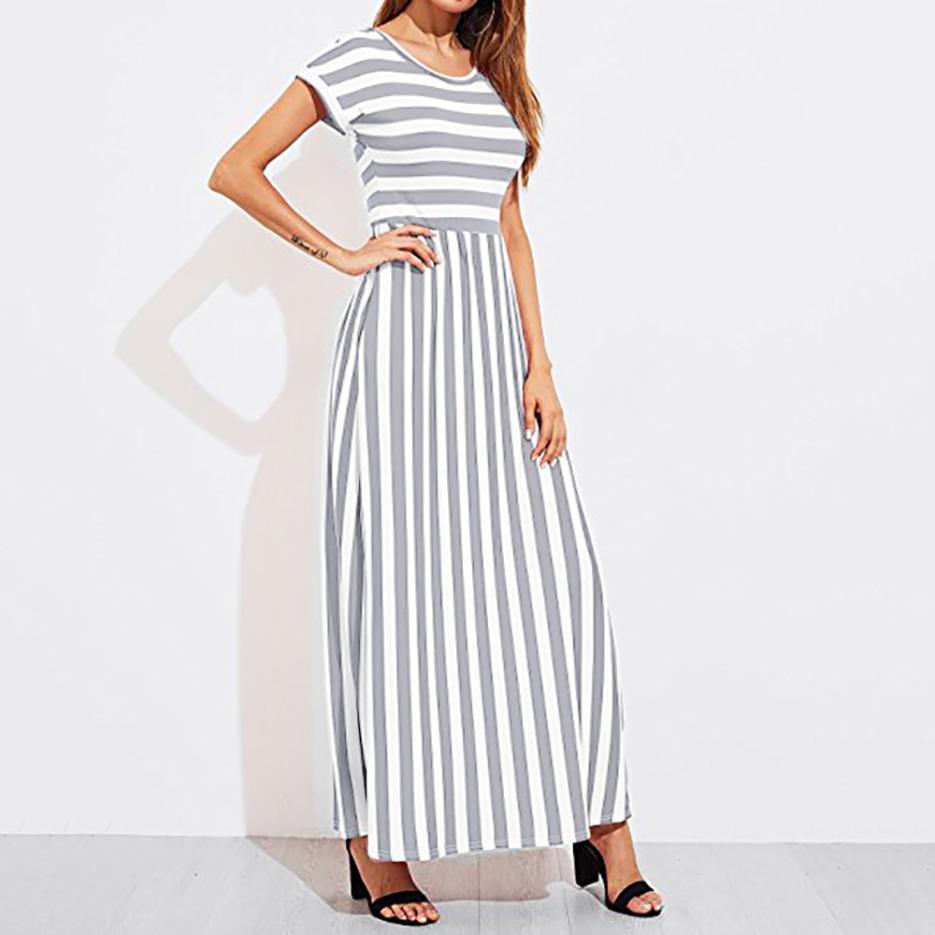 Summer Dress Women Elastic Waist Striped Maxi Dress Short Sleeve Boho Style Beach Dress Sundress Casual Shift Dresses Vestido