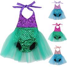 Baby Girls Sequins Tutu Mermaid Baby Rompers One-Pieces
