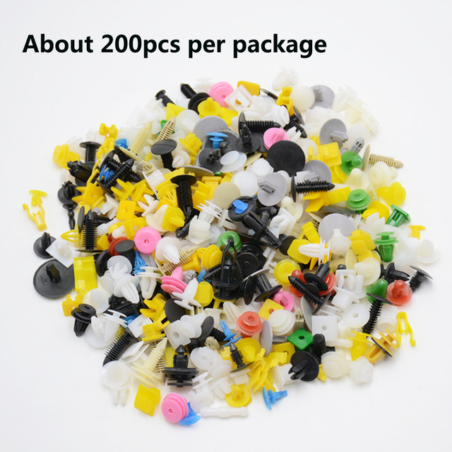 Dewtreetali  200Pcs Mixed Auto Fastener Car Bumper Clips Retainer Car Fastener Rivet Door Panel Fender Liner for all car