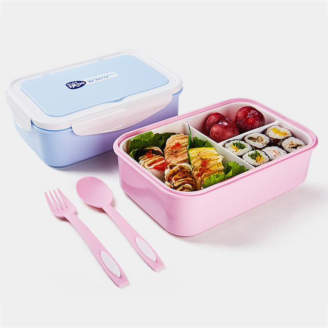 Portable Lunch Box with 3 Separated Sections