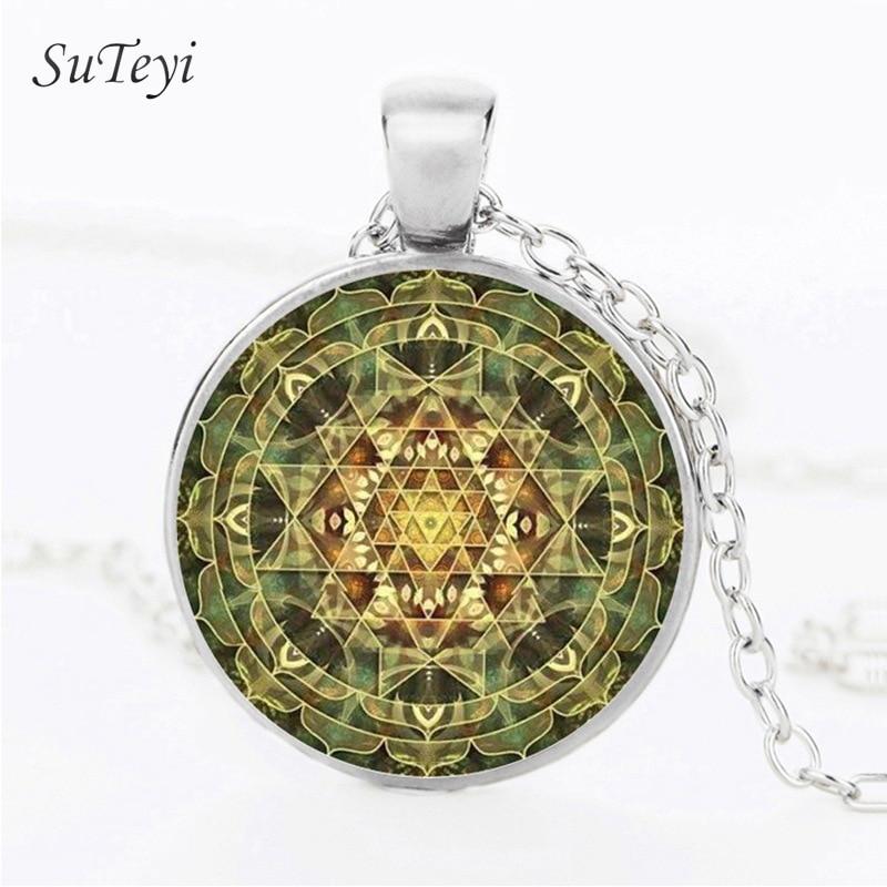SRI YANTRA Mandala Glass Cabochon Necklace Pendant Buddhist Silver Chain Glass