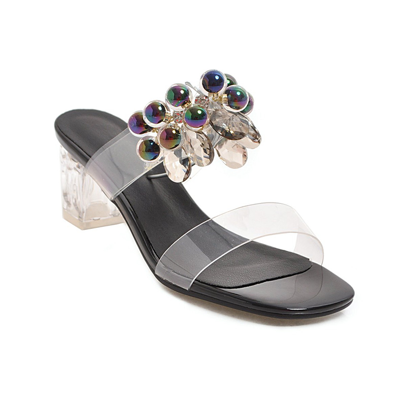 WETKISS High Heels Slippers Woman Open Toe Footwear Transparent Pvc Slides Shoes Female Crystal Mules Shoes Women Summer 2019