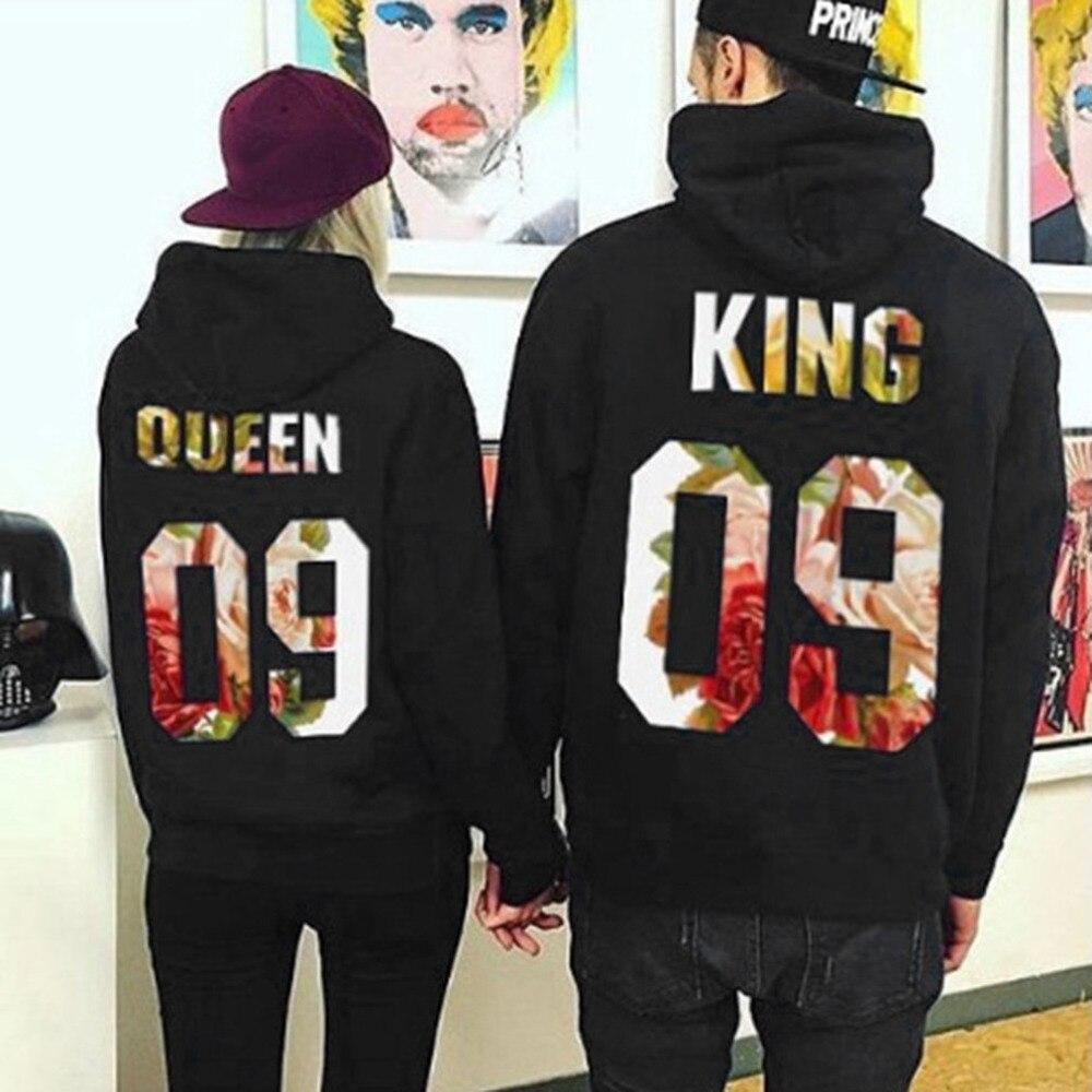 Women Men Hoodies King Queen printed Sweatshirt couples Outwear hooded sweatshirt casual lovers Pullovers tracksuits Wholesale