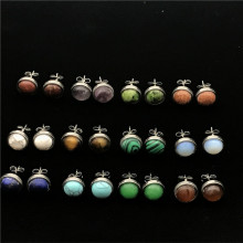 Tainless Steel Earrings Stud 8mm Natural Stones Stud Earrings For Women Brincos 2018 Oorbellen Marble Simple Jewelry Girl Gifts