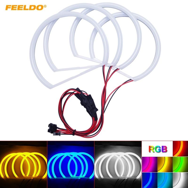 FEELDO 4Pcs/set Car LED Headlight Cotton Angel Eyes Halo Ring Light For BMW E46 NON Projector/E46 Coupe/E46 Sedan #FD-4739 все цены