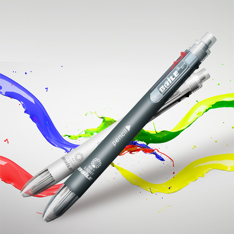 6 In 1 Multicolor Ballpoint Pen Include 5 Colors Ball Pen 1 Automatic Pencil Top Eraser For Marking Writing Office School Supply