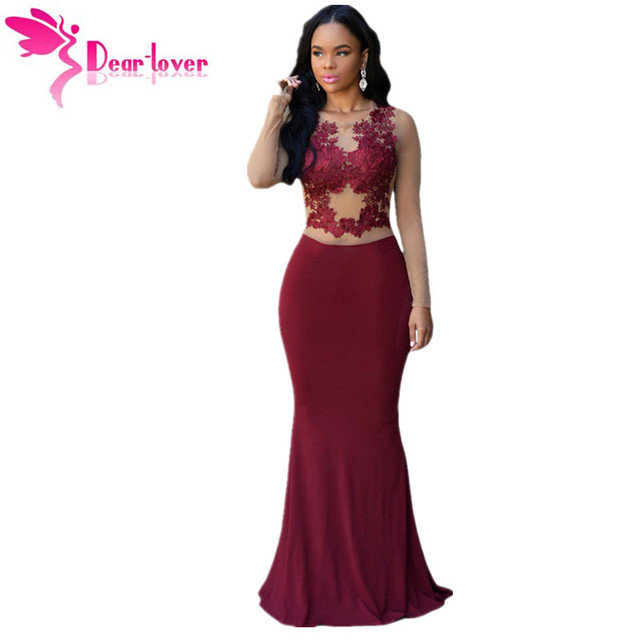 28cf6f58cf5 Dear Lover Claret Nude Mesh Accent Maxi Dress Long Sleeve Party Gown for Special  Occasion Winter