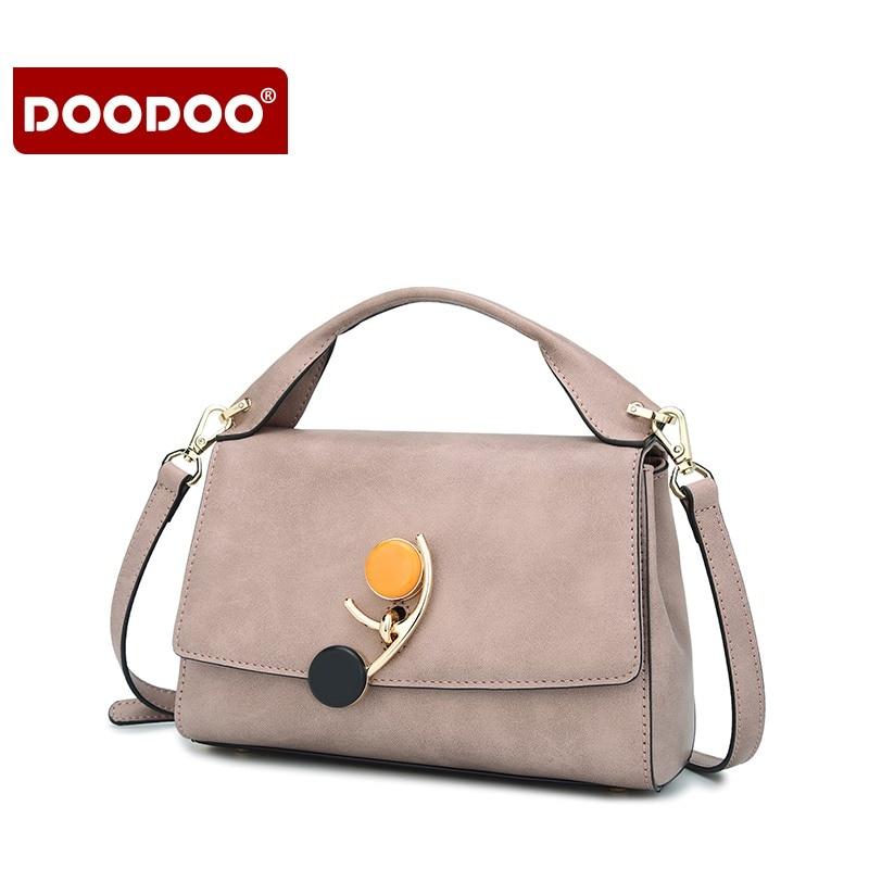 DOODOO Lady Brand Handbags Women Messenger Bags PU Leather Women Bags Fashion Casual Ladies High quality Retro Shoulder Bag