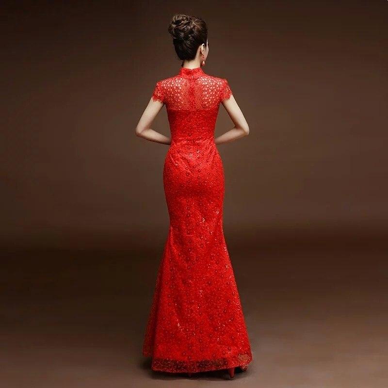 chine tradition phénix broderie rouge dentelle sequin cheongsam - Vêtements nationaux - Photo 2