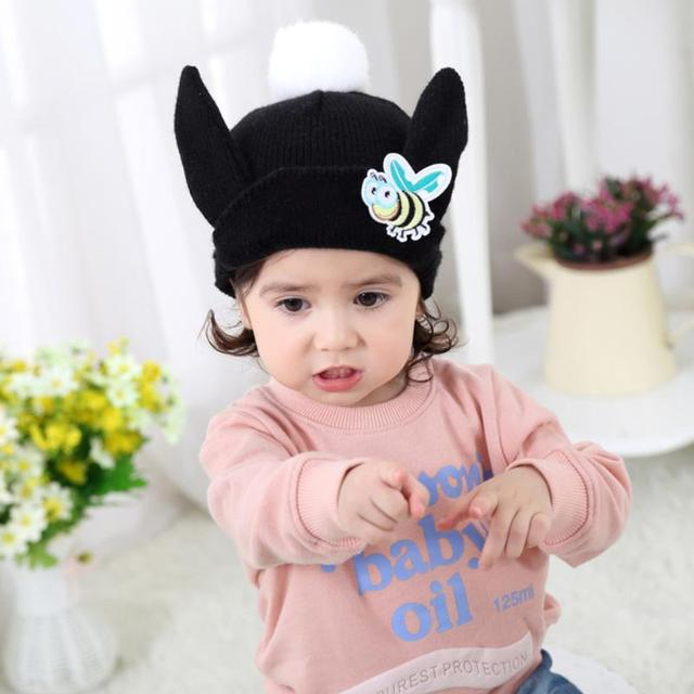 Winter Baby Girls Hats Knitted Woolen Bee Big Rabbit Ears Pattern Caps Warm Infant  Hat for 6-36 M Baby Kids c3ac877c0e3