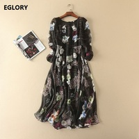 European High end Fashion Women's Dress Summer 2017 O-Neck 3D Flower Print Long Sleeve Vintage Retro Female Dress Black Sexy