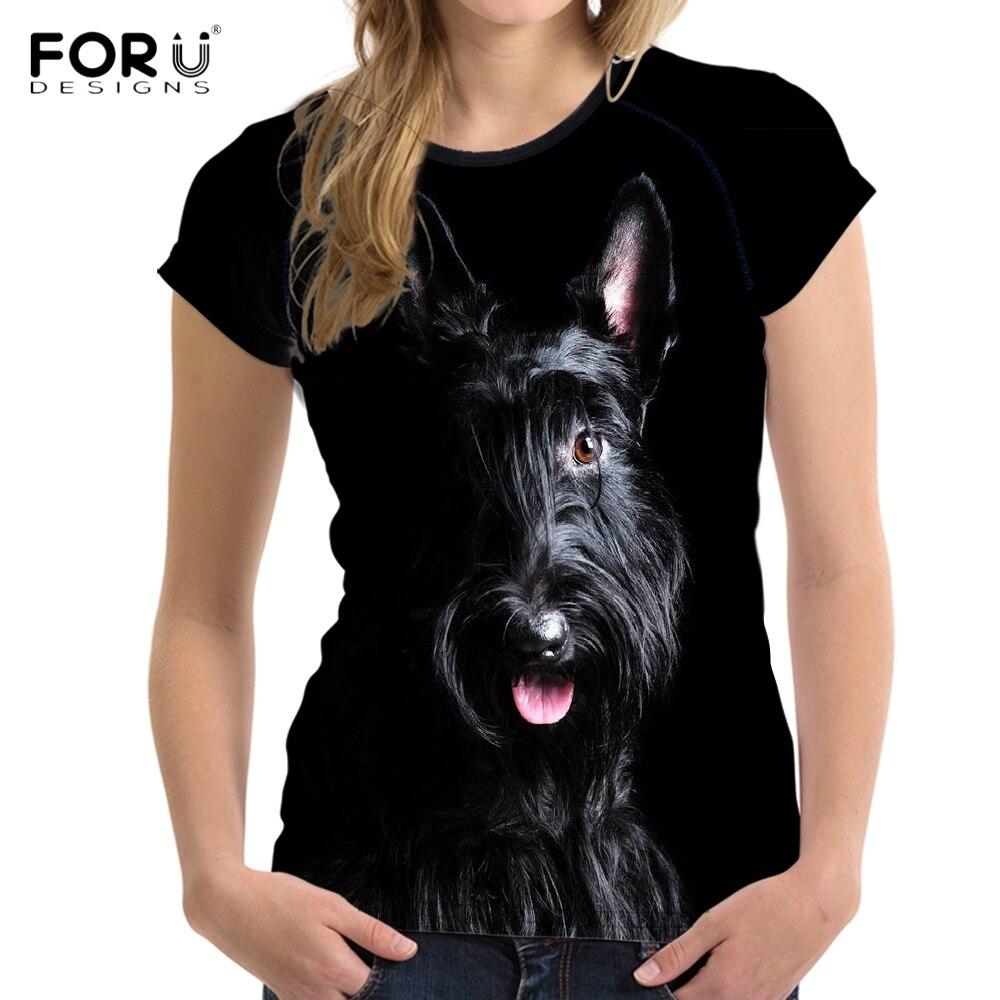 FORUDESIGNS Cute 3D Animal Dog Scottish Terrier Print Women T Shirts Stylish Girls Short Sleeve Top Tee O Neck Harajuku T shirts