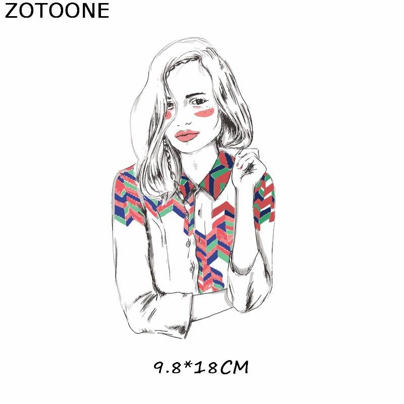 """ZOTOONE железные нашивки на одежду Diy полоски 3D аппликация """"Девочка"""" теплопередача для украшения из ткани наклейки для детей G - Цвет: 691"""