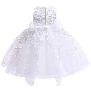 Image 4 - Yenidoğan bebek kız vaftiz elbiseler bebek yürüyor vaftiz elbisesi çocuk düğün parti beyaz Frocks doğum günü 1 yıl kıyafeti