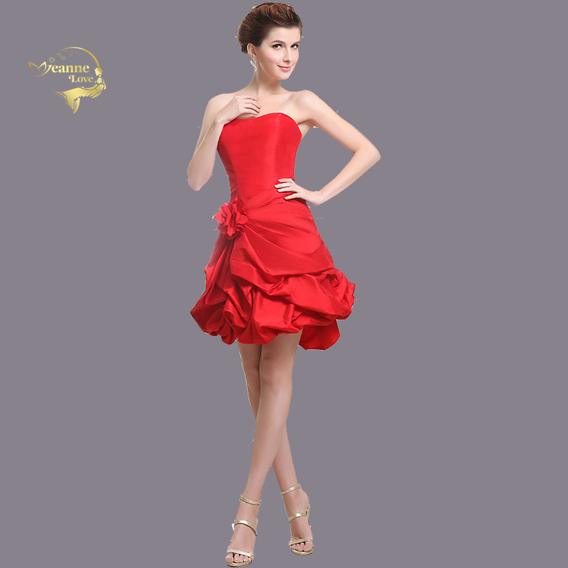 Red Taffeta Cocktail Party Dresses A Line Above Mini Princess Dress Up Women Short Prom Dress Engagement Gown vestidos coctel