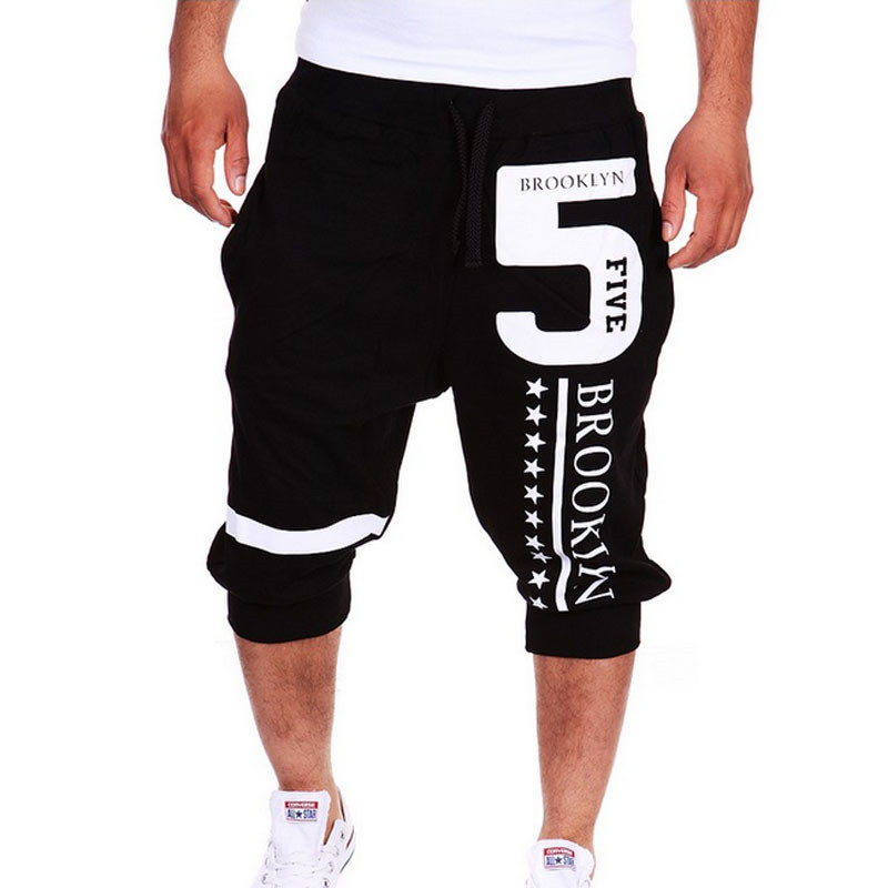 2019 New Mens Baggy Sweatpant Elastic Waist Cargo Shorts Hip Hop Letter Printed Rope Drawstring Short