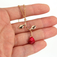 hzew red rose pendant necklace Valentine's Day rose necklaces gift for lover women
