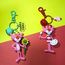 Anime Cartoon Pink Panther Leopard Key chain Women Leather Strap Metal Ring Chains Car Purse Bag Charm Trinkets Kids 2019