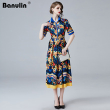 Banulin New 2019 Summer Designer Runway Maxi Dress Womens Short Sleeve High Quality Elegant Print Vintage Blue Long Party