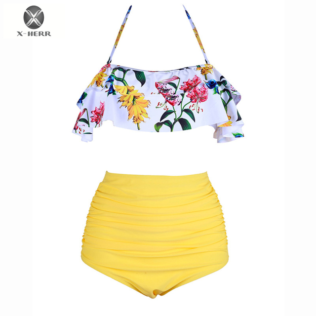 13e96c1f9fbc0 High Waist Bikinis Floral Printed Flouncing Pleated Bikinis Sexy Halter  Swimsuit Wire Free Padded Back Tied Swimwear Women