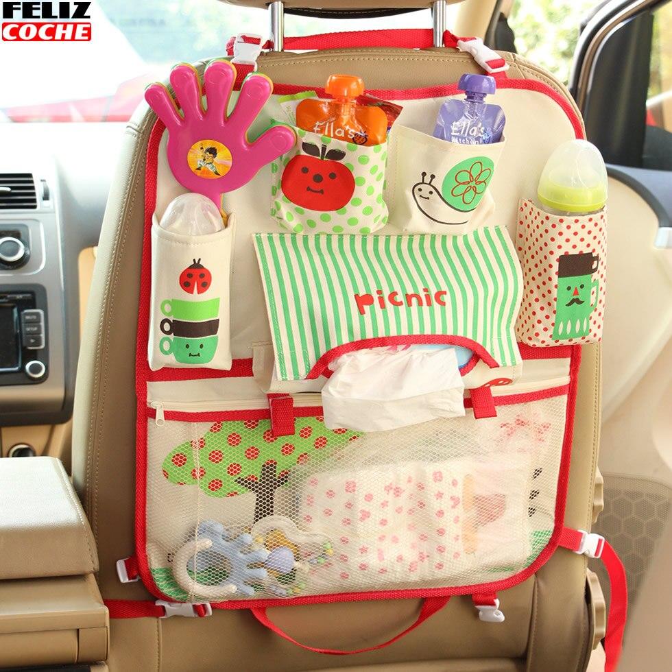 car back seat cover storage stowing tidying organizer hanging bag kids carriage baby diaper storage holder