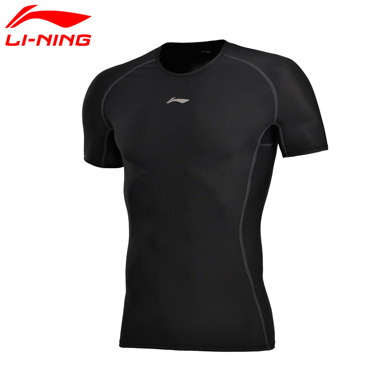 Li-Ning Men Training T-shirts Breathable Short Sleeve Tight Fit LiNing POWER SHELL Sports Tees AUDM065 MTS2663