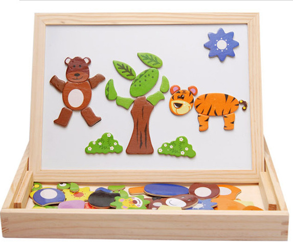 New Children Puzzle Sets for Boys & Girls Fantasy Wooden Toys with Blackboard and Whiteboard Kids Toys Drawboard AKP016