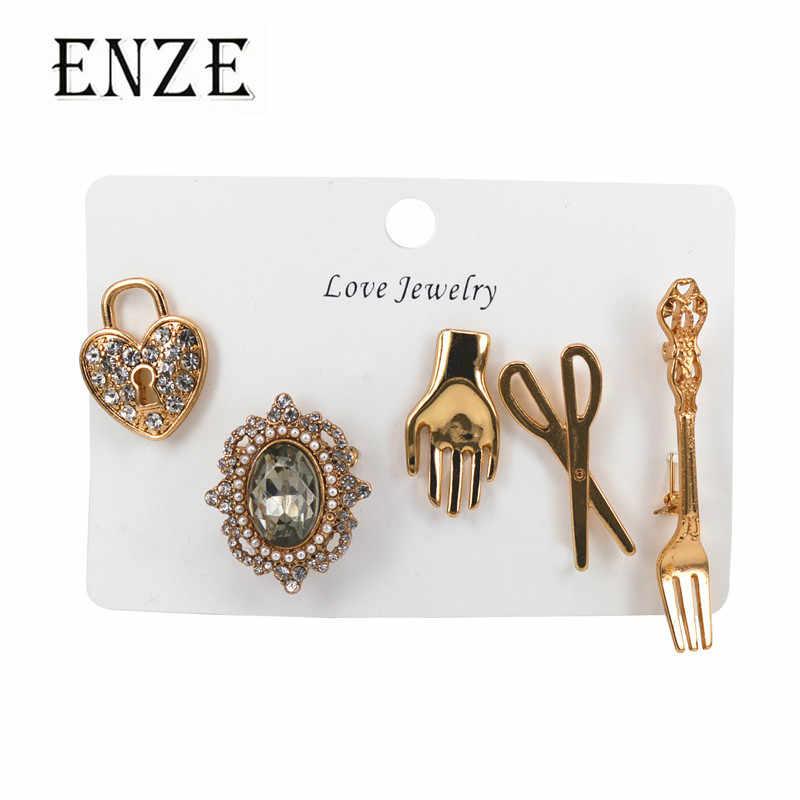 ENZE aleación de zinc joyería tijeras tenedor Palma bloqueo mezcla conjunto broche Moda hombre Mujer Accesorios fiesta insignia joyería al por mayor