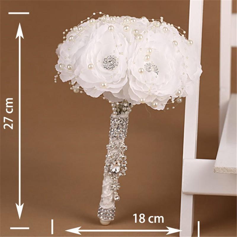Elegant Bridesmaid Flower Wedding Bouquet Artificial Buquet de noivas Handmade White Beaded Bridal Bouquets Brooch (5)